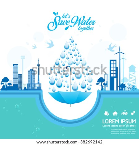 Save Water Vector Concept Let's Save Water Together - stock vector