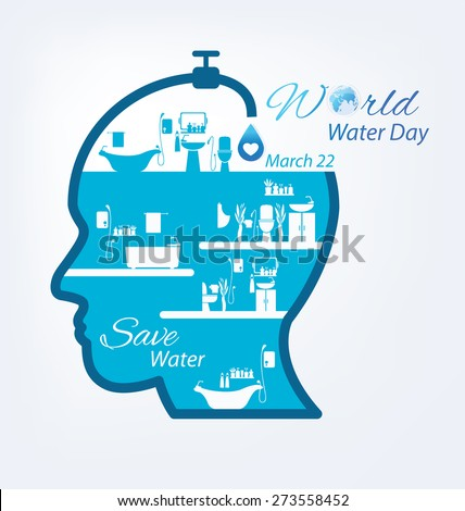 Save water. World Water Day concept. Vector illustration. - stock vector