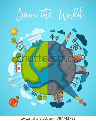 Save world agitation poster with globe divided in half