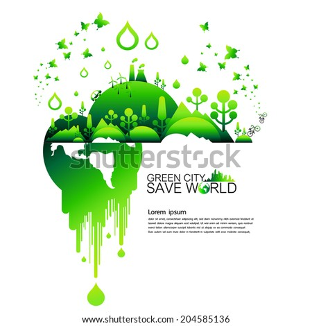 Save world and green city background
