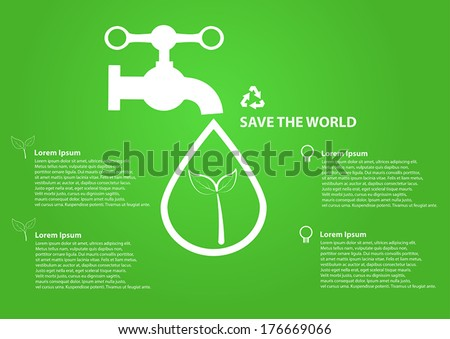 Save world icon water drops with faucet - stock vector