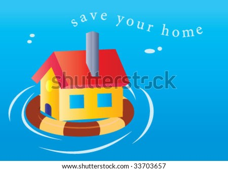 Save your home design on the sea - stock vector