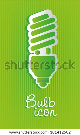 Saving bulb label isolated on green background