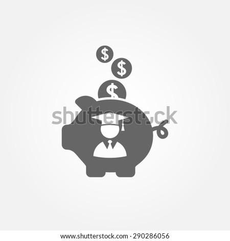 saving for college, education founding, piggy bank vector icon - stock vector