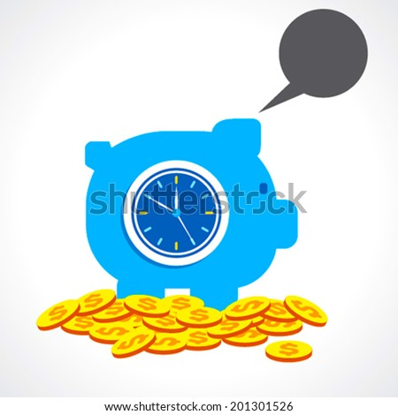 saving money for long time with message bubble concept vector - stock vector