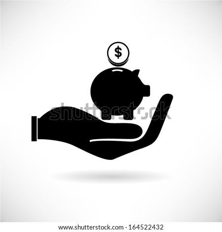 saving, piggy bank - stock vector