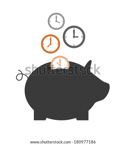saving time design over white background vector illustration - stock vector