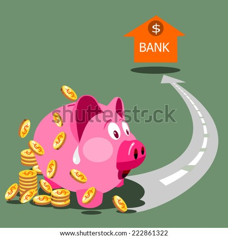 Savings and investment concept with a pink piggybank or money-box making for a bank account.  - stock vector
