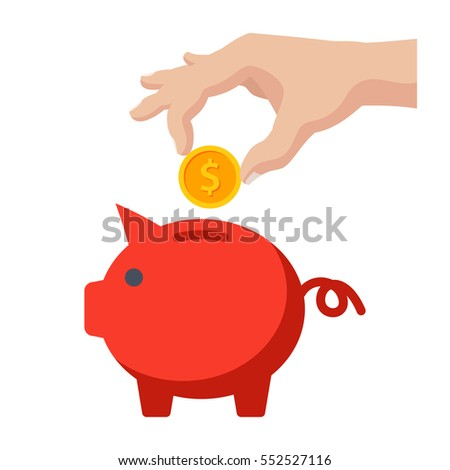 Savings money concept, piggy bank and hand with coin