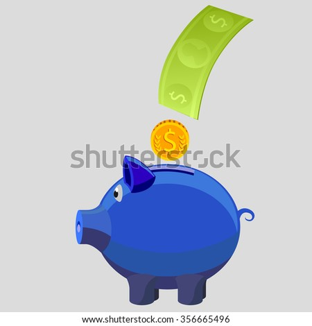 Savings or Banking or Finance Institution or Piggy Banking - Illustration - stock vector