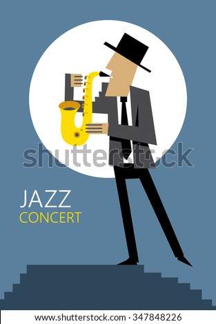 Sax Player, Saxophone Art (Vector Art) - stock vector