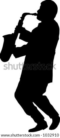 Saxaphonist silhouette - stock vector