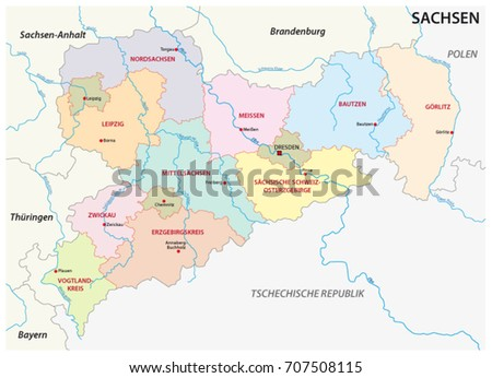Saxony administrative political map german language stock vector saxony administrative and political map in german language gumiabroncs Image collections