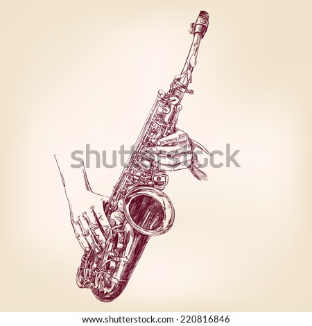 saxophone hand drawn vector llustration realistic sketch - stock vector