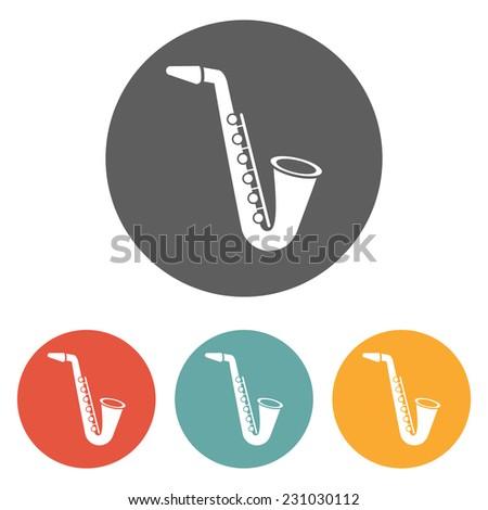 saxophone icon - stock vector