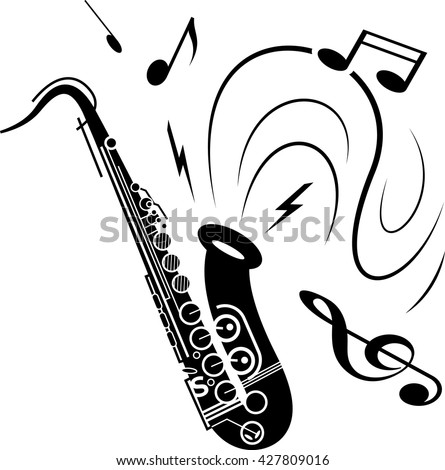 Saxophone music illustration black on white. Black saxophone with music notes spraying out of instrument. Image of saxophone music playing.  - stock vector