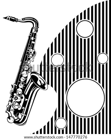 Saxophone. Musical background - stock vector