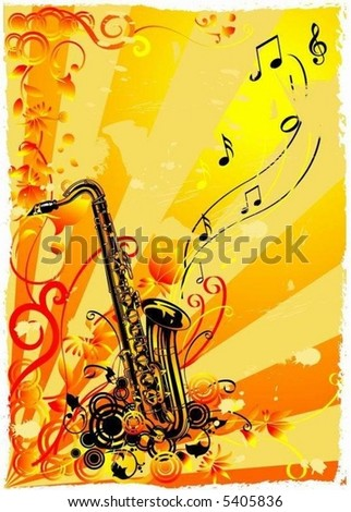 Saxophone on a grunge floral background - stock vector