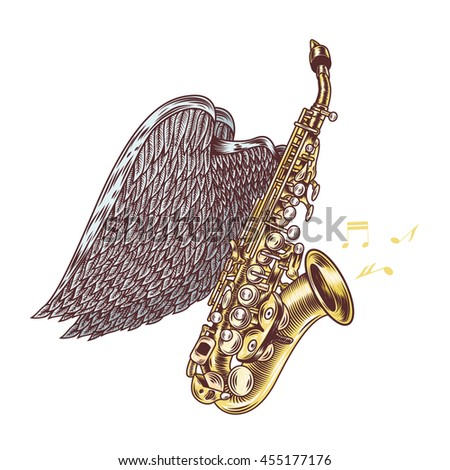 Saxophone with wings. Jazz music. Vector illustration