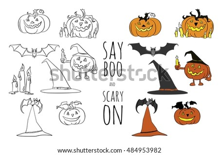 Say Boo And Carry On. Halloween Vector Set. Cartoon Design. Hand Drawn  Pumpkins