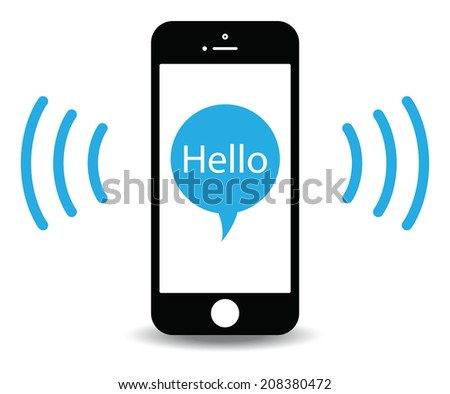 saying hello from a mobile - stock vector