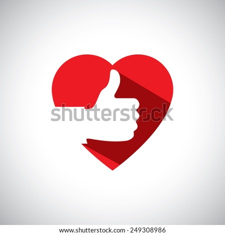 saying yes, liking others, love concept - simple vector icon. this also represents acknowledgement, appreciation, showing support with heart, solidarity, backing, trust, faith, giving vote, acceptance - stock vector