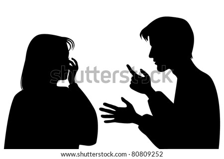 says the guy with the crying girl - stock vector