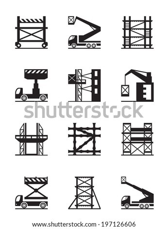 Scaffolding and construction cranes icon set - vector illustration - stock vector