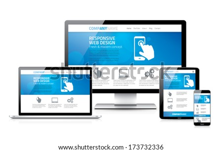 Scalable and flexible responsive web design concept vector EPS10 - stock vector