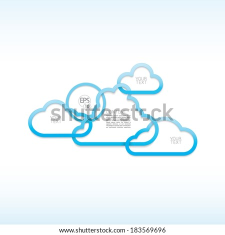 Scalable eps10 vector design.  Abstract geometric cloud text box composition for your content. Blue, centered edition.  - stock vector
