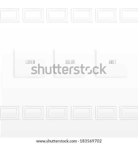 Scalable eps10 vector design. Abstract minimal classic interior composition with three modern frames. For gallery exhibition leaflet.  - stock vector