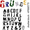 Scalable grunge alphabet font - stock vector