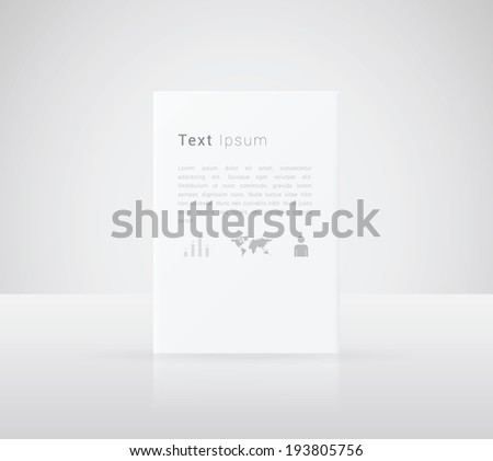 Scalable minimal 3D text box vector in A4 paper design for web page background, infographics, exhibit - white version - stock vector