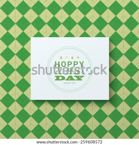 Scalable minimal 3D vector text box on vivid geometric pattern background for holiday greeting, cover design, web page banner, wallpaper - St. Patrick's Day version - stock vector