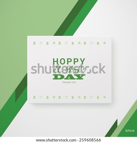 Scalable minimal 3d vector text box on wall with shadow and icon set for holiday greeting, cover design, web page banner, - St. Patrick's Day version - stock vector