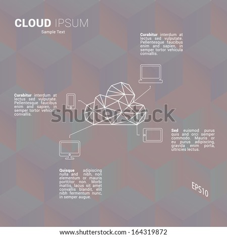 Scalable minimal flat vector of cloud computing for web pages, brochures, presentations - dark pastel edition - stock vector