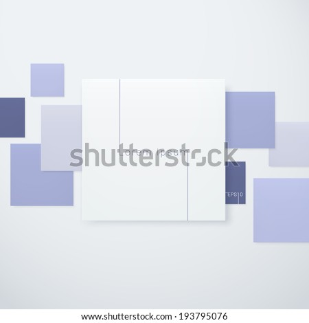 Scalable minimal note paper illustration with colorful background for web design, banner, brochure template - blue version - stock vector
