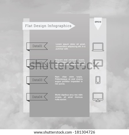 Scalable minimal vector illustration of infographic template with cloudy sky background and cloud computing icon set for web site, presentation and layout - grey version - stock vector