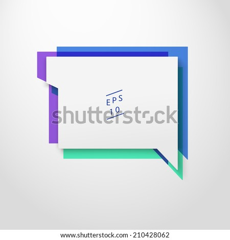 Scalable minimal vector speech bubble on colorful background for cover design, web page banner, layout, text box - blue, green, purple version - stock vector