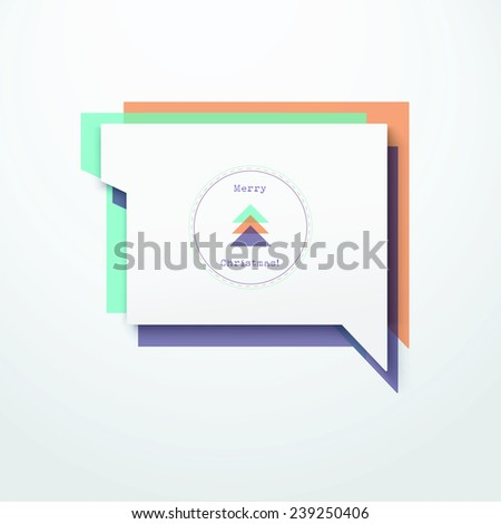 Scalable minimal vector speech bubble on colorful background for cover design, web page banner, layout, text box - orange, purple, cyan version - stock vector