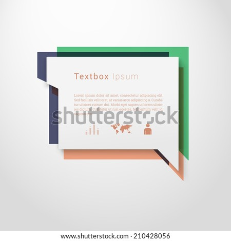Scalable minimal vector speech bubble on colorful background with icon set for cover design, web page banner, layout, text box - blue, green, peach version - stock vector