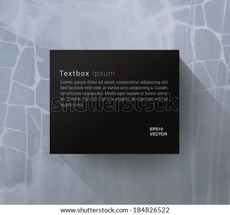 Scalable minimal vector text box on concrete wall for cover design, web page banner, layout, infographics - black and blue version - stock vector