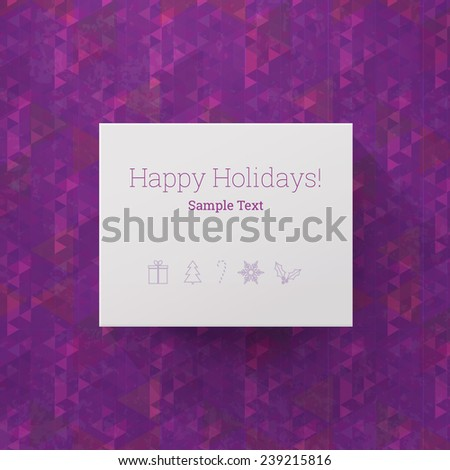 Scalable minimal vector text box on geometric pattern background with long shadow for cover design, web page banner, holiday greeting - purple version - stock vector