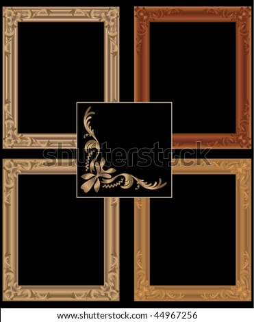 Scalable vector golden picture frames. Width and height can be changed to suit your pictures - stock vector