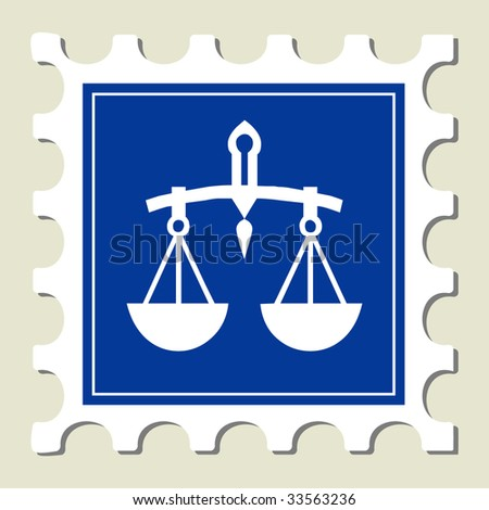 Scale Balance Sign Stamp - stock vector
