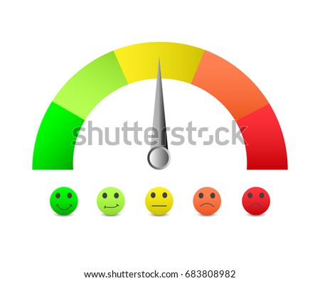 Scale Color With Arrow From Red To Green And The Of Emotions Measuring