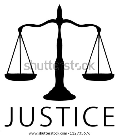 Scale icon of justice symbol, Black and white - stock vector
