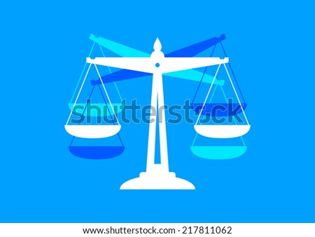 Scale icon on blue background  - stock vector