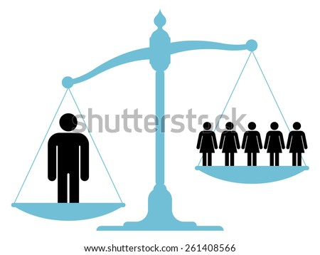 Scale or balance weighing a single man versus a group of women or business team to establish which carries more weight in respect of certain criteria in human resources, depicting sexism - stock vector