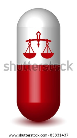 Scale Sign Capsule Pill - (Vector) - stock vector